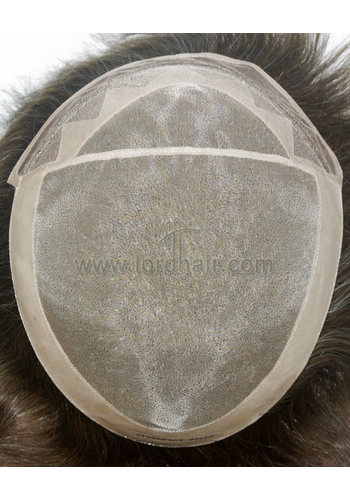 Fine mono in center with poly coating all around perimeter, French lace front men's toupee