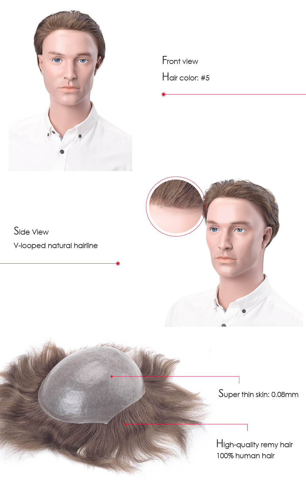hair pieces for men with remy hair