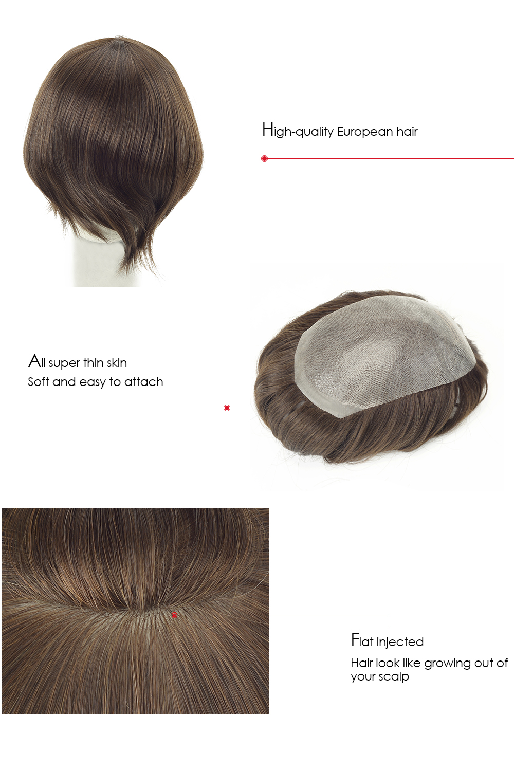 super thin skin injected hairpiece