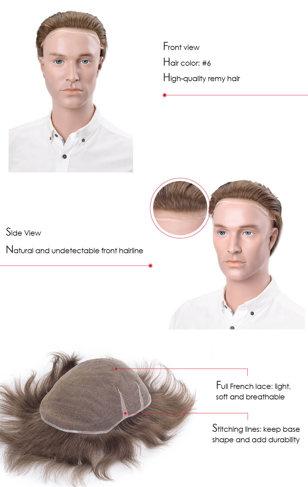 French Lace Hair System for men with remy hair