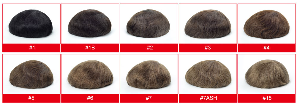 Stock Mens Hairpiece Colors