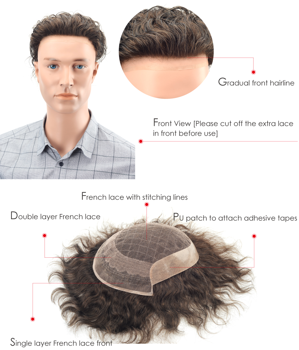 Human Hair Wig for Men