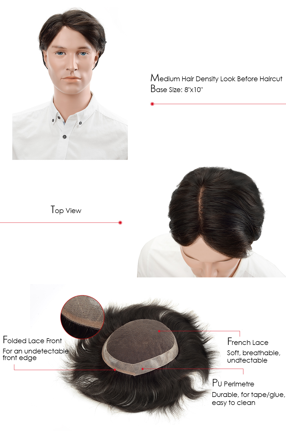 PU perimeter hair piece for men