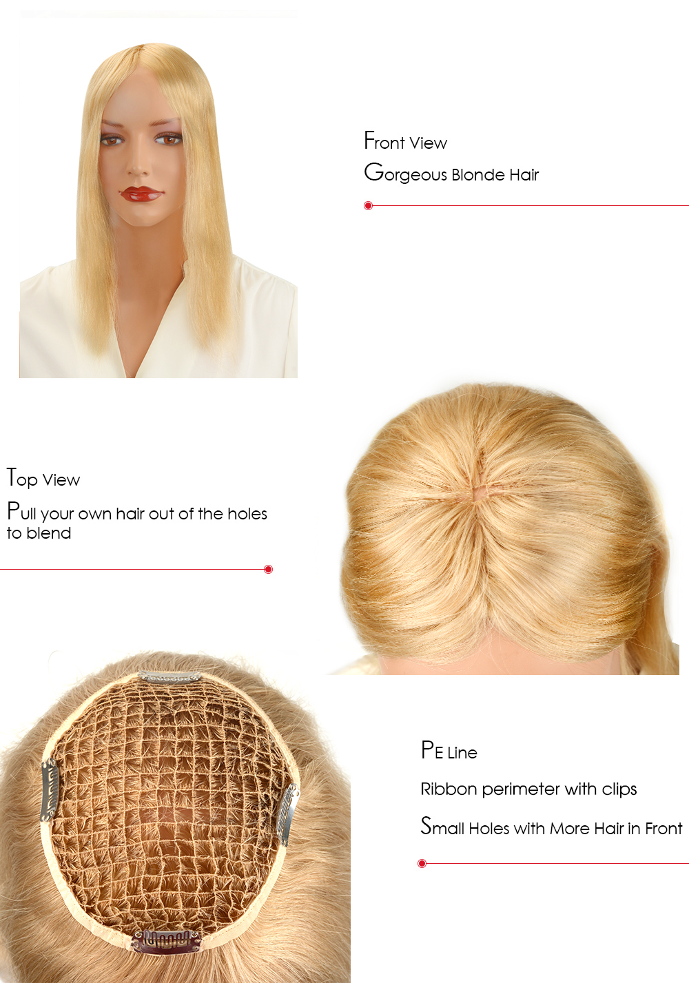 blonde hair piece for women