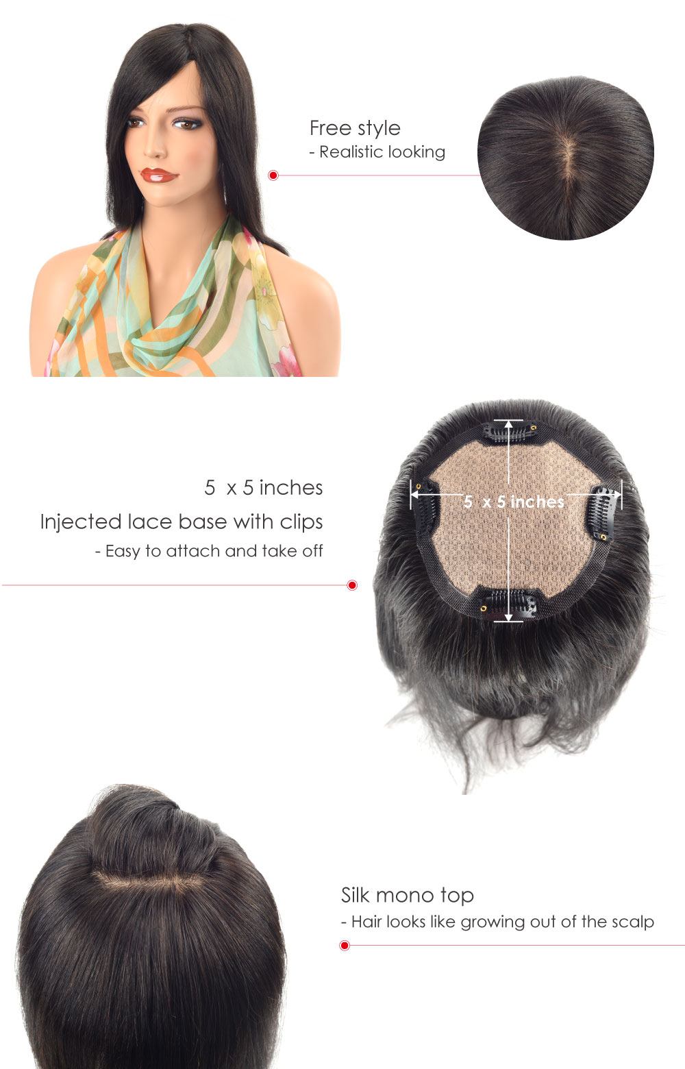 Silk Top Hair Piece for Women