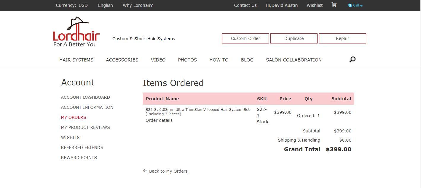 Hair System Online Shop