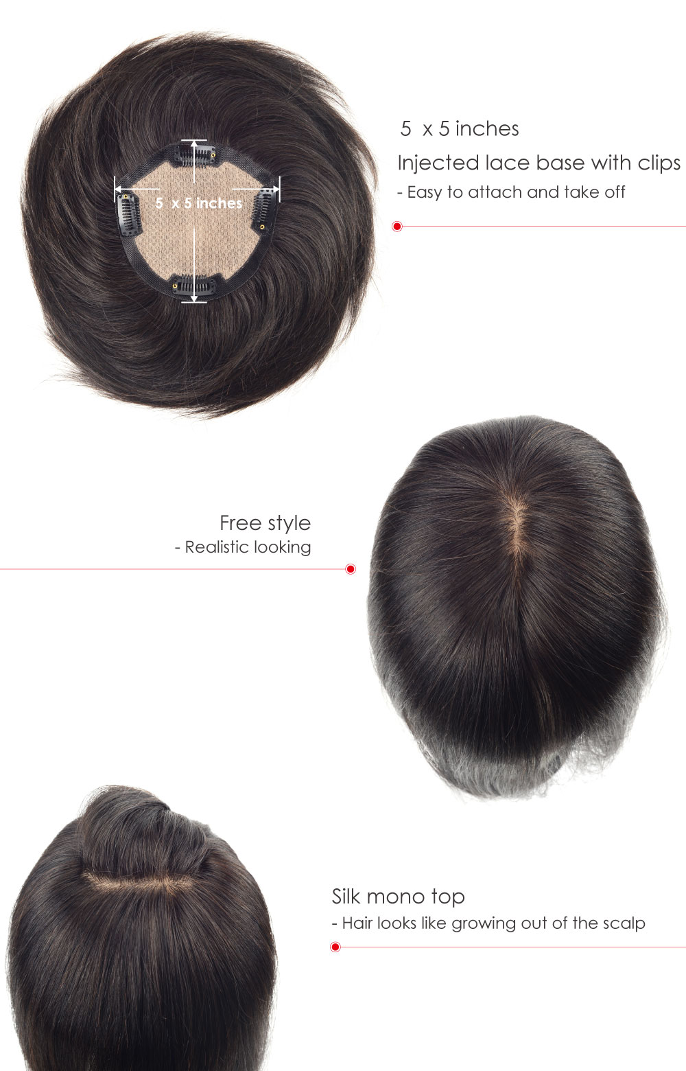 Silk Top Hairpiece for Women